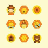 Honey Bee Stickers Set vector