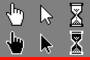 White and black arrow cursors and hand cursors icons vector