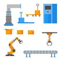 Factory elements set flat style design with cardboard boxes, ventilation, conveyor, robot arm, box with lid, industrial scales, open box, trolley, automated line, operator isolated on white. vector