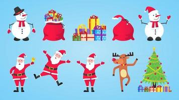 Santa Claus, gift bags with gifts, snowman, christmas tree, reindeer set vector