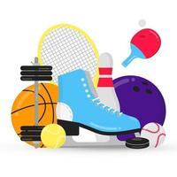 Sport gaming composition with balls - tennis, bowling, basketball. Ice skating shoes and ping pong racket, puck etc... Sport equipment flat style design vector illustration isolated on white.