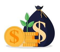Growing money tree with Gold coins on branches icon. Symbol of wealth and Business success. Vector illustration