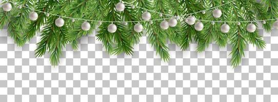 Merry Christmas and happy New Year border of tree branches and garland beads on transparent background. Vector illustration.