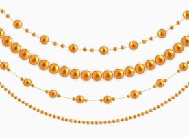 String garlands with balls , isolated on white background. Vector Illustration
