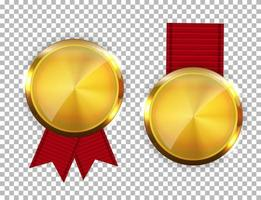 Champion Gold Medal with Red Ribbon. Icon Sign of First Place Isolated on Transparent Background. Vector Illustration