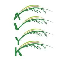 Monogram Initial Green Leaf Sign vector