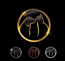 Golden Cat and Dog Circle vector