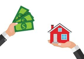 Real estate concept.  Buy house poster with men hands paying money for the home building. Vector Illustration