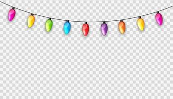 Multicolored Garland Lamp Bulbs Festive Isolated on Transparent Background Vector Illustration