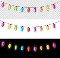 Multicolored Garland Lamp Bulbs Festive Isolated on Transparent, White, Black Background Vector Illustration