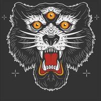 black lion 3 eyes tattoo ilustration design vector