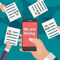 encontrar el concepto de diseño de empleados. hr búsqueda de empleo. ilustración vectorial vector