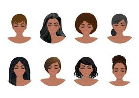African American women hair styles collection. Black Women avatars vector illustration