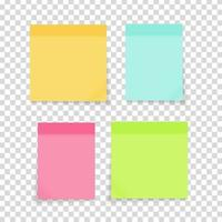 Colored empty paper note stickers set for office text or business messages. Vector Illustration
