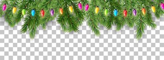 Merry Christmas and happy New Year border of tree branches and garland beads on transparent background. Vector illustration
