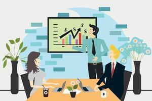 empleado de oficina que está dando una presentación sobre el negocio de la empresa a su jefe y socios, ilustración del concepto de reunión de lanzamiento vector
