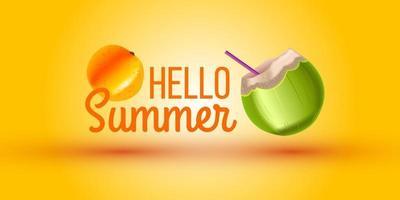 Hello Summer banner, green coconut, straw, orange. Exotic vector fruit yellow background, sale flyer