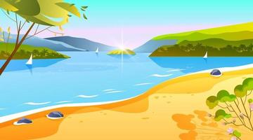 Tropical summer banner, beach ocean landscape, tropical island vacation background. Sand, tree, boat vector