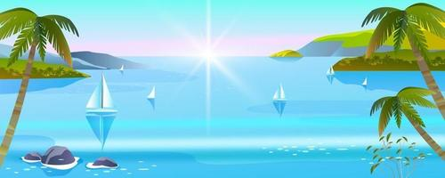 Vector seascape, tropical island summer vacation banner, ocean, island, palms, boats, tourism flyer