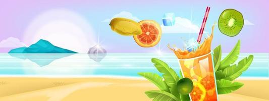 Summer banner, tropical island seashore, cold beverage glass, fruit, straw. Vacation background vector