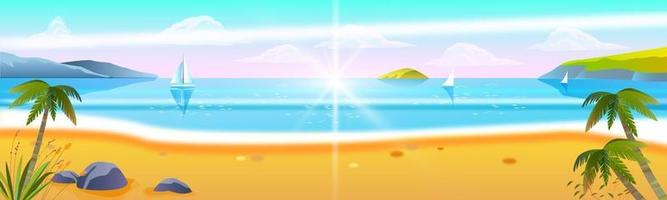 Summer beach vacation banner, tropical island seaside, vacation background, sand, water, palm, boats vector
