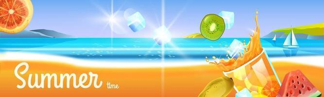 Summer cocktail party banner, cold beverage glass, tropical fruit. Beach travel landscape, ice, boat vector