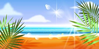 Summer beach landscape, exotic vacation background, seaside sand, clouds. Paradise resort template vector