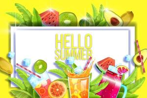Summer sale banner, tropical background, hot offer, discount poster. Cold beverages, exotic fruit vector