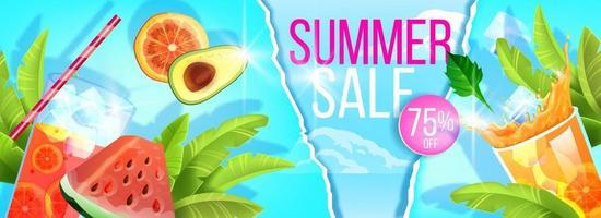 Summer sale banner, hot season discount flyer template, exotic fruit, cold beverage glass, straw vector