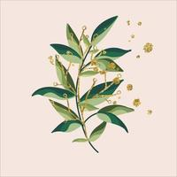 gold green tropical leaves vector design