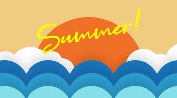 Hello summer web banner and flyer vector
