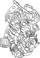 Car Engine Components doodle outline handwriting style vector