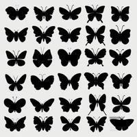 colección de siluetas de mariposas vector