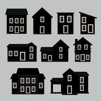 Illustration collection of houses in black and white vector