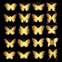 Golden butterfly collection vector
