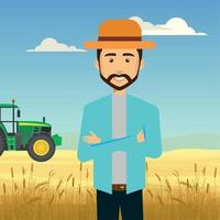 illustration of agronomist in a wheat field vector