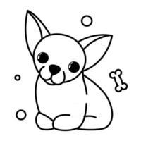 icono de ilustración de vector de dibujos animados lindo de un cachorro de perro chihuahua. es estilo de contorno.