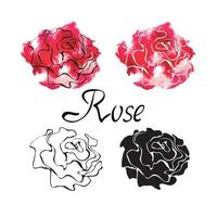 Vector colorful set with logo roses isolated on white background