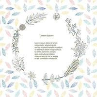 Vector colorful illustration of floral and herb wreath. Hand draw frame. Can be used for invitation, greeting card and poster