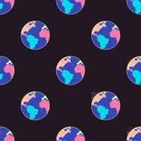 Seamless pattern with planet Earth. World symbol for environment safety celebrate. vector