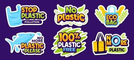 No Plastic Sticker Collection vector