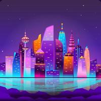 Futuristic Skyscrapers on Modern Cityscape Background vector