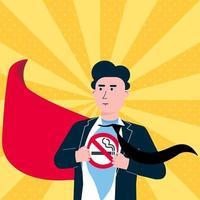El hombre joven rasga la camisa y muestra la camiseta con el fondo blanco aislado del ejemplo del vector del diseño del estilo plano del icono del signo de no fumar. concepto superhéroe plantilla de hombre no fumador. la ciudad lo necesita.