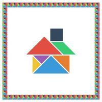 Tangram brain game HOUSE flat color vector illustration