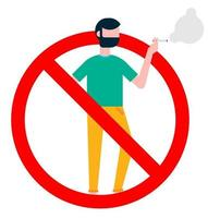 No smoking  sign with standing man. Forbidden sign icon isolated on white background vector illustration. Man in smokes cigarette, red prohobition circle isolated on white background.