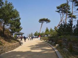 gente en el templo de naksansa, corea del sur foto