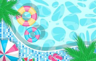 Summer Pool Aerial View Background vector