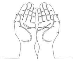 continuous line drawing hands up praying concept vector illustration