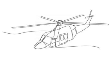continuous line drawing helicopter vector illustration