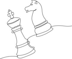 Continuous line drawing of chess figure moving in game vector illustration